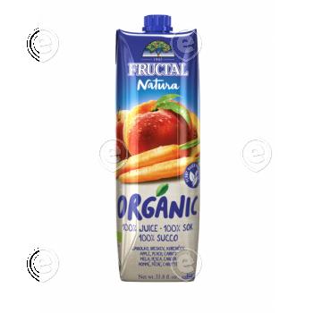 100% orgaaniline mahl õun, virsik, porgand 1L suhkruroost pakendis
